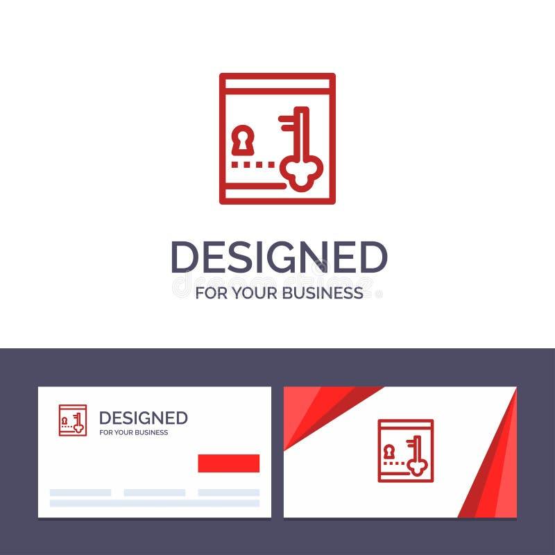 创造性的名片和商标模板保险柜,衣物柜,锁,关键传染媒介例证 皇族释放例证