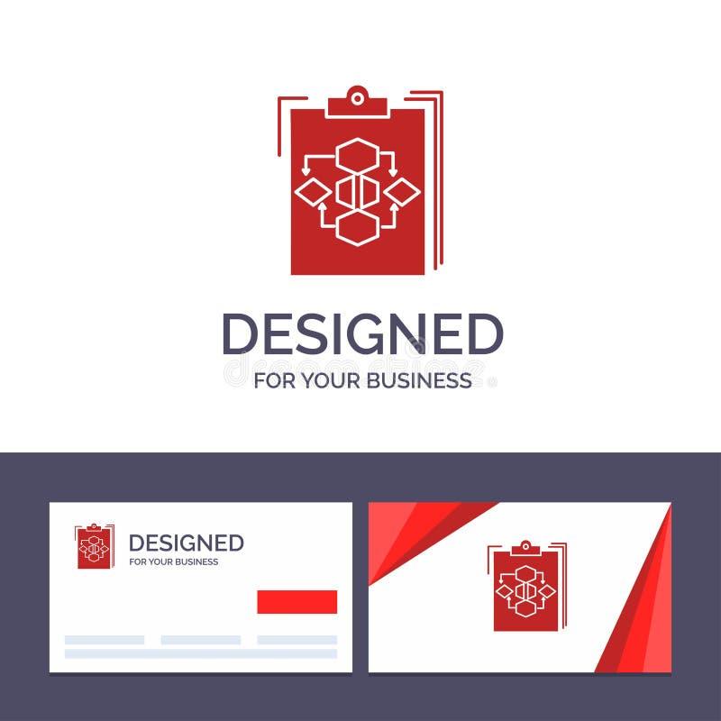 创造性的名片和商标模板剪贴板,事务,图,流程,过程,工作,工作流传染媒介例证 皇族释放例证
