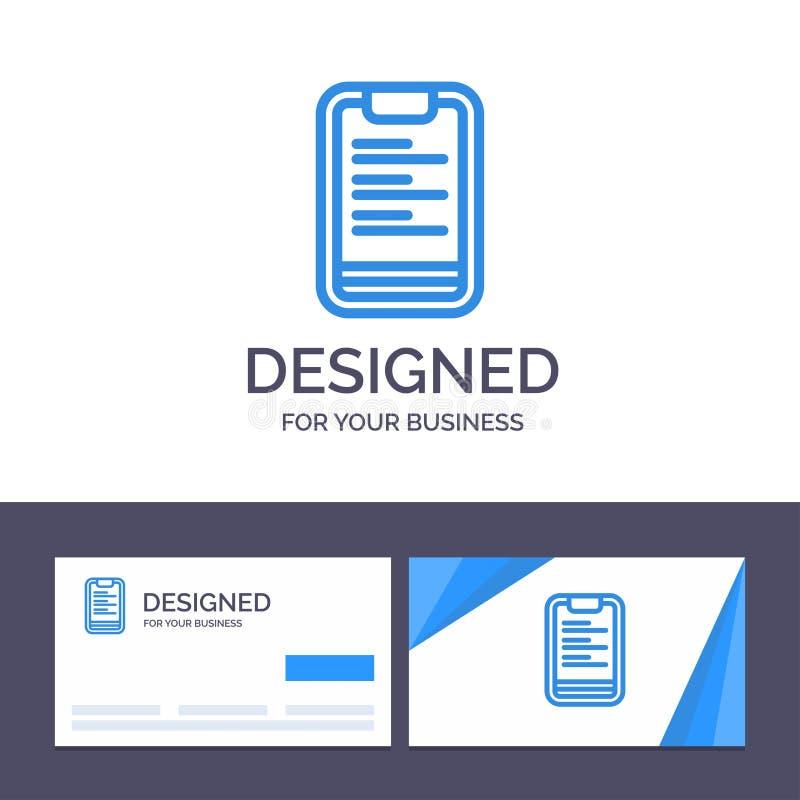 创造性的名片和商标模板剪贴板,文本,板,刺激传染媒介例证 库存例证