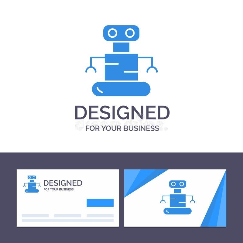 创造性的名片和商标模板外骨骼,机器人,空间向量例证 库存例证