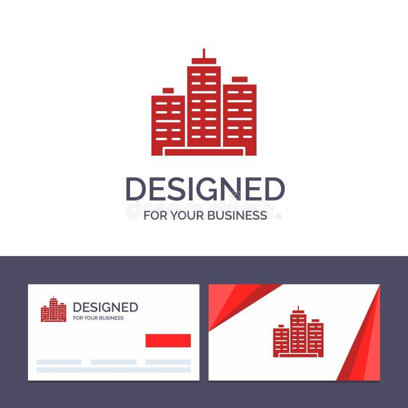 创造性的名片和商标模板大厦,建筑学,事务,庄园,办公室,物产,真正的传染媒介例证 库存例证