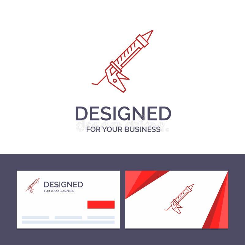 创造性的名片和商标模板密封胶,枪,修理,建筑,器物导航例证 库存例证