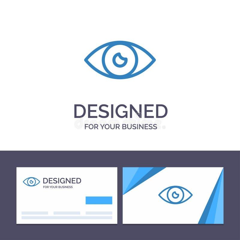 创造性的名片和商标模板应用程序,基本的象,设计,眼睛,流动传染媒介例证 向量例证