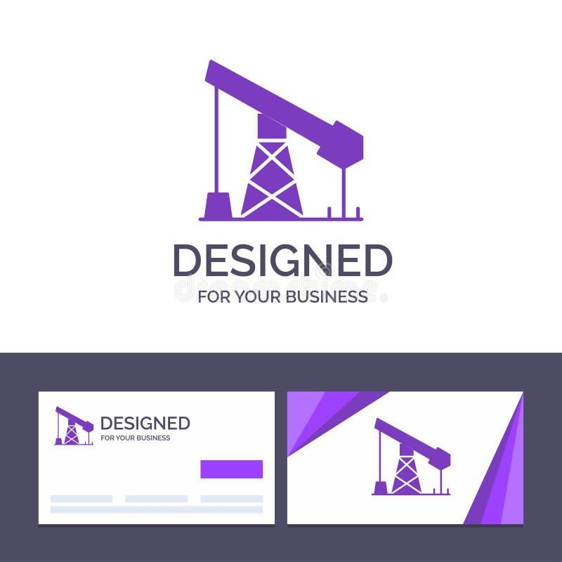创造性的名片和商标模板建筑,产业,石油,气体传染媒介例证 皇族释放例证