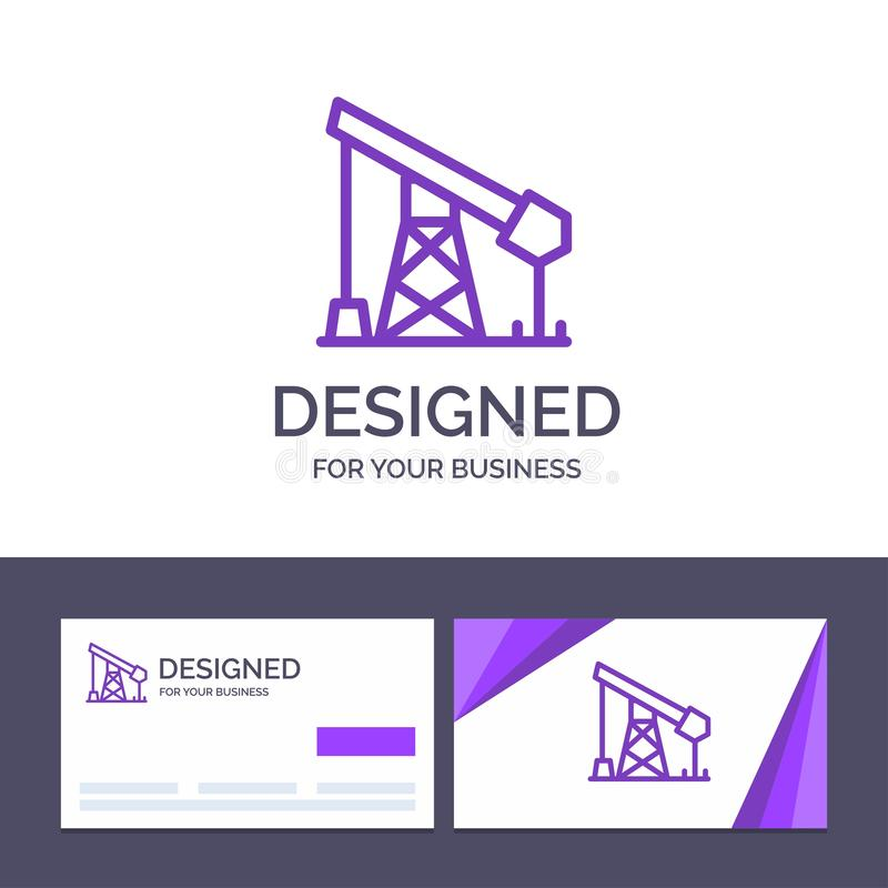 创造性的名片和商标模板建筑,产业,石油,气体传染媒介例证 向量例证
