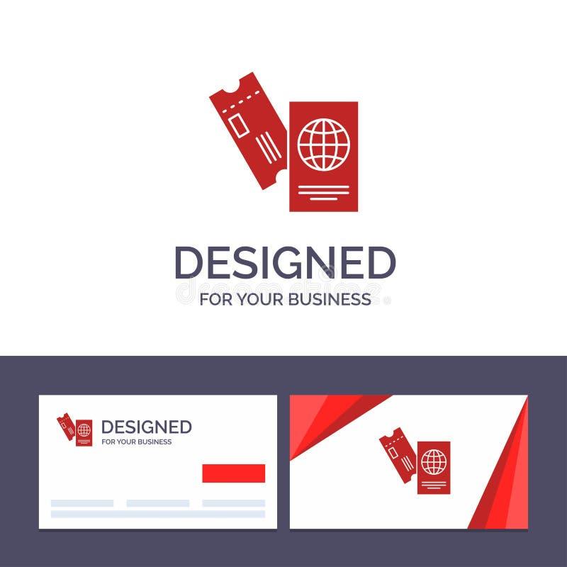创造性的名片和商标模板护照,事务,票,旅行,假期传染媒介例证 向量例证