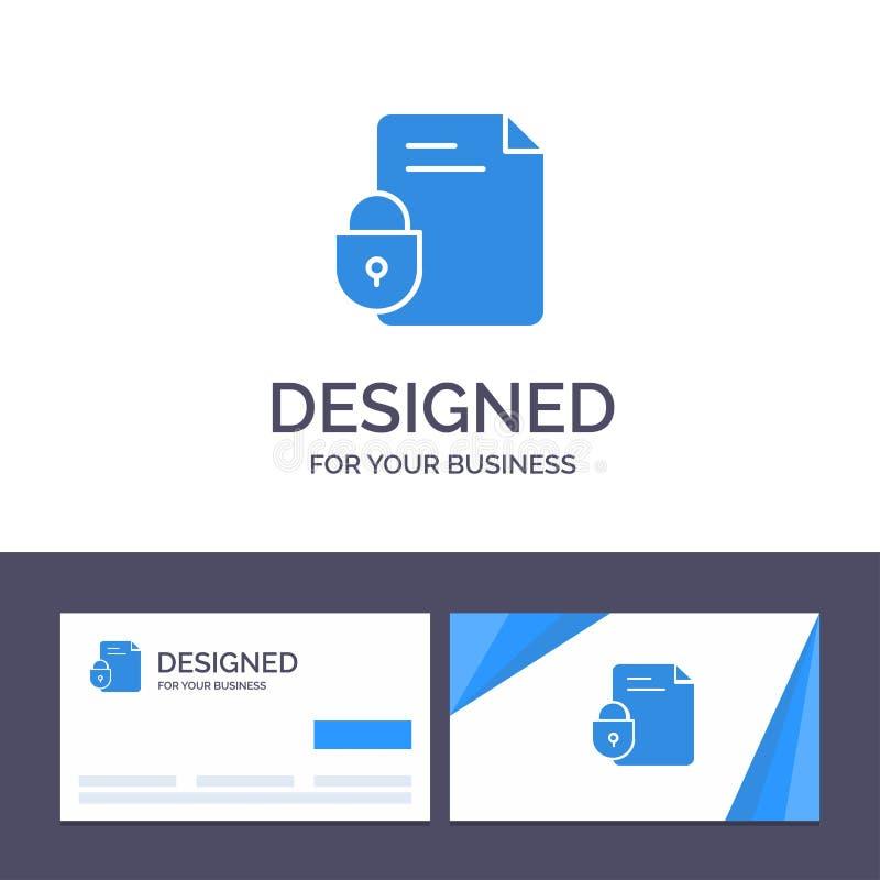 创造性的名片和商标模板文件,文件,锁,安全,互联网传染媒介例证 库存例证