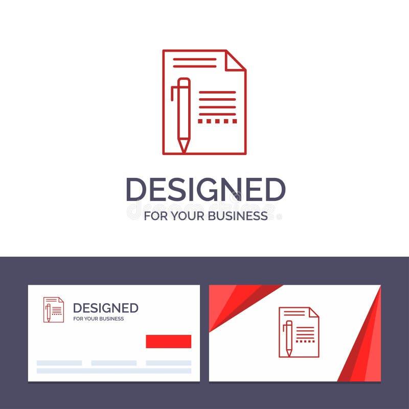创造性的名片和商标模板文件,编辑,呼叫,裱糊,书写,写传染媒介例证 皇族释放例证