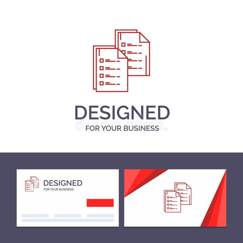 创造性的名片和商标模板文件,逻辑分析方法,数据,拷贝,纸,简历传染媒介例证 库存例证