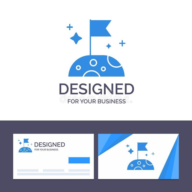 创造性的名片和商标模板月亮,慢,空间向量例证 库存例证