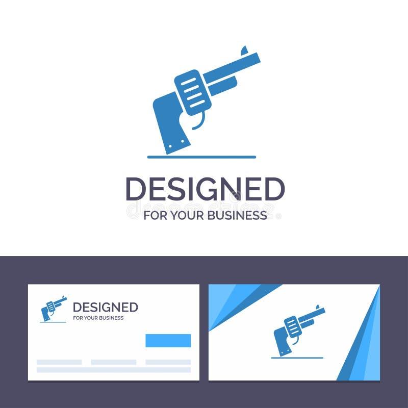 创造性的名片和商标模板枪,手,武器,美国传染媒介例证 向量例证