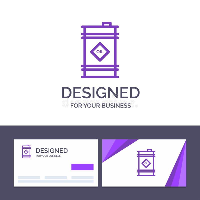 创造性的名片和商标模板桶,油,油桶,毒性传染媒介例证 库存例证