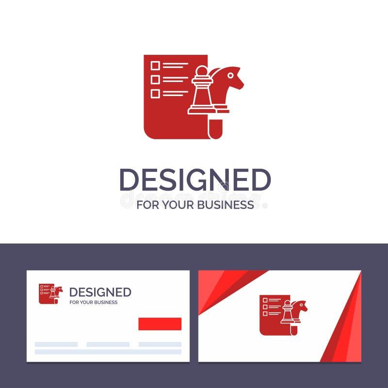 创造性的名片和商标模板棋,事务,战略,计划的传染媒介例证 向量例证
