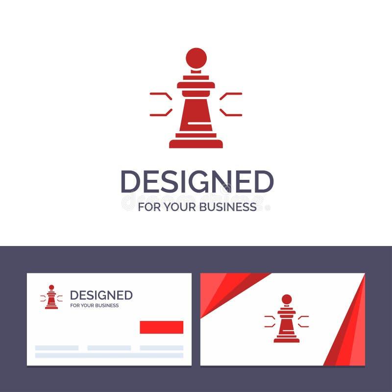 创造性的名片和商标模板棋,好处,事务,图,比赛,战略,战术传染媒介例证 库存例证