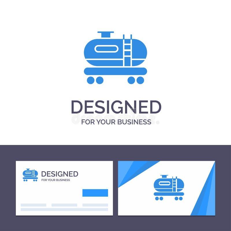 创造性的名片和商标模板油,坦克,污染传染媒介例证 库存例证