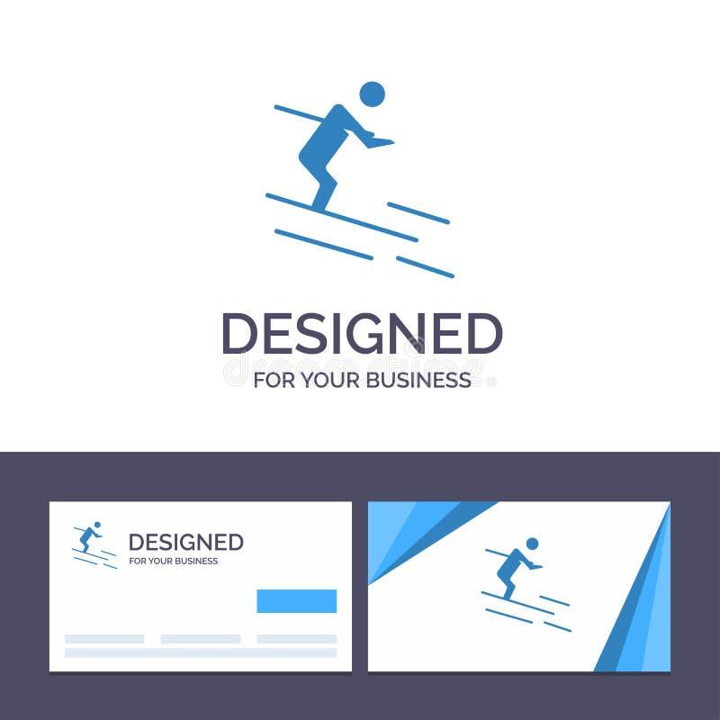创造性的名片和商标模板活动,滑雪,滑雪,运动员传染媒介例证 库存例证