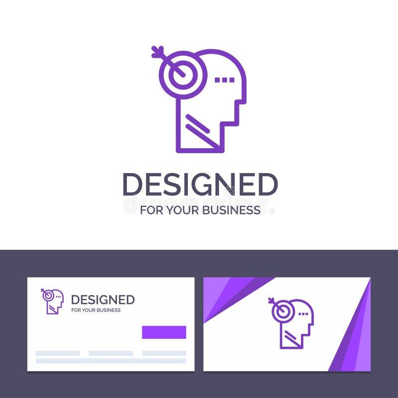 创造性的名片和商标模板箭头,焦点,精确度,目标传染媒介例证 库存例证
