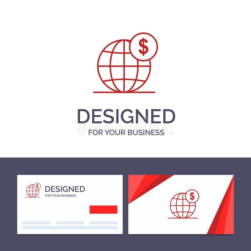 创造性的名片和商标模板美元,全球性,事务,地球,国际传染媒介例证 向量例证