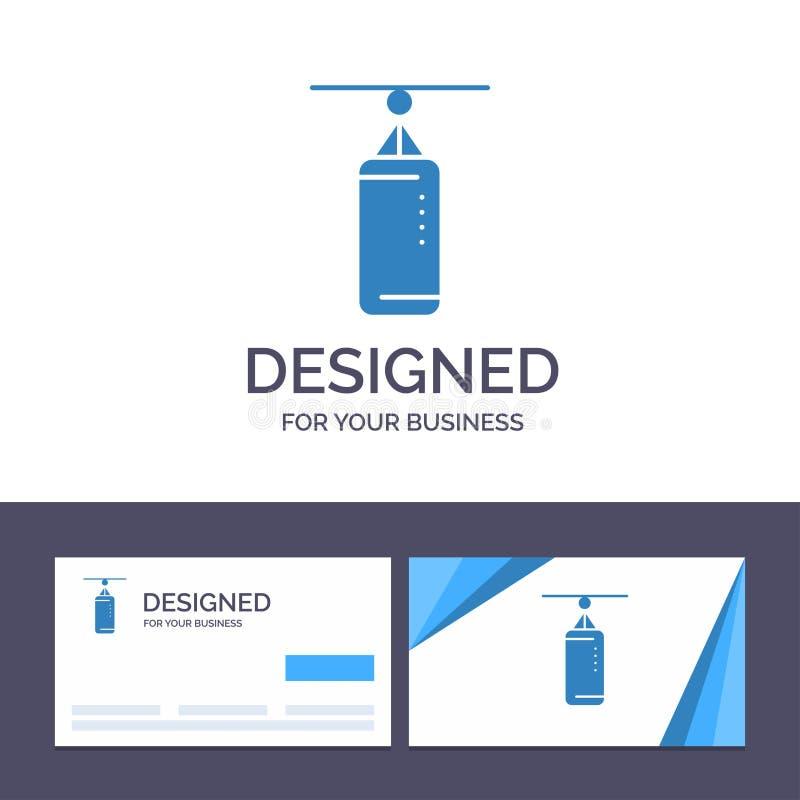 创造性的名片和商标模板袋子,拳击,沙袋,猛击的传染媒介例证 向量例证