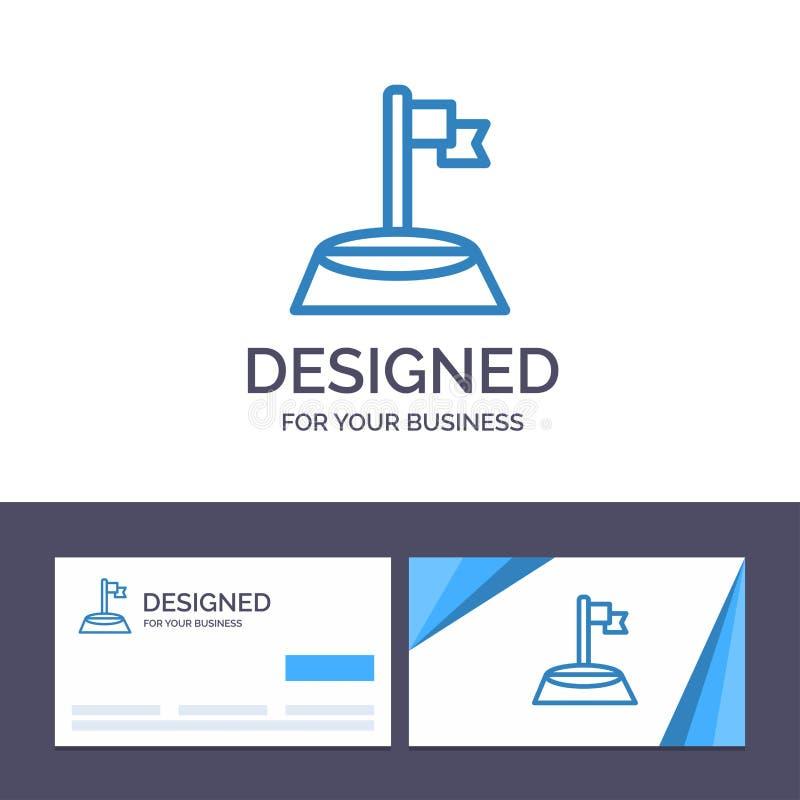创造性的名片和商标模板角落,旗子,高尔夫球,体育传染媒介例证 库存例证