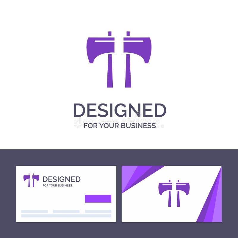 创造性的名片和商标模板轴,剁,伐木工人,工具传染媒介例证 向量例证