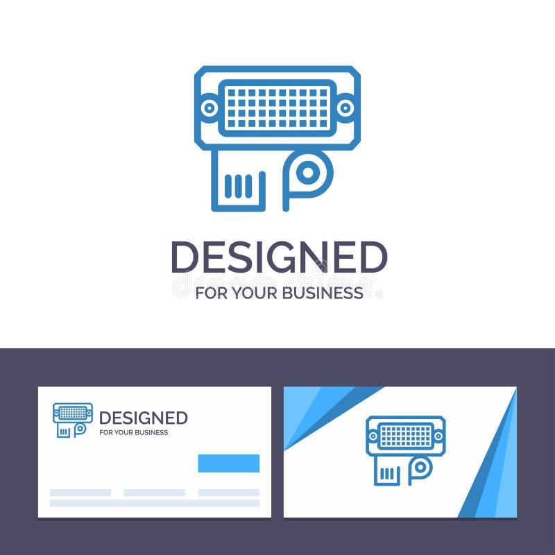创造性的名片和商标模板适配器,连接,数据,输入的传染媒介例证 向量例证