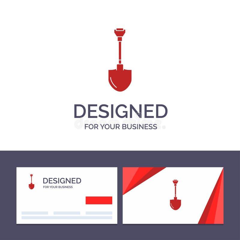 创造性的名片和商标模板Showel,铁锹,工具,修理,开掘的传染媒介例证 向量例证