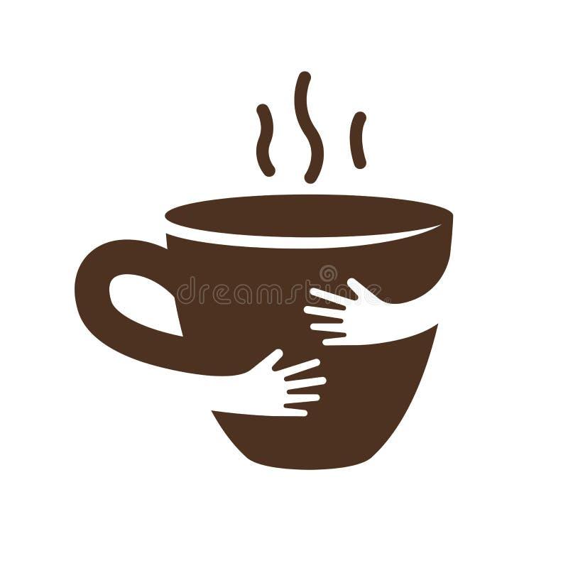 创造性的咖啡或茶杯和手商标设计 咖啡馆或餐馆标志 库存例证