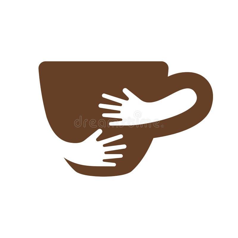 创造性的咖啡杯和手商标设计 咖啡馆或餐馆标志 库存例证