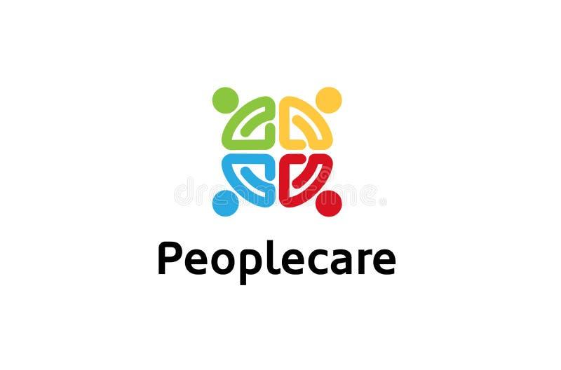 创造性的四个人五颜六色的人群商标标志设计例证 向量例证