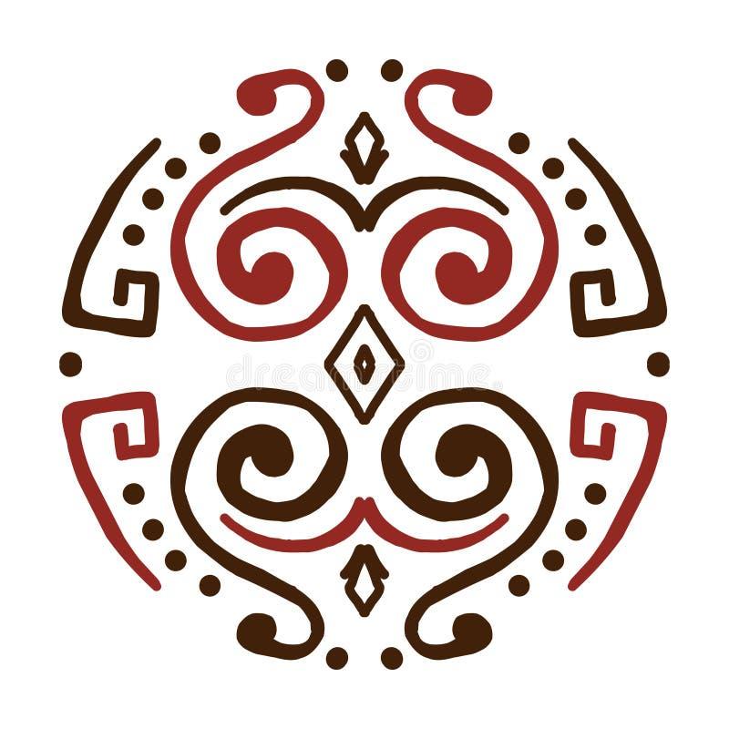 ?? 创造性的圆装饰品 圆的对称样式 葡萄酒装饰元素 库存例证