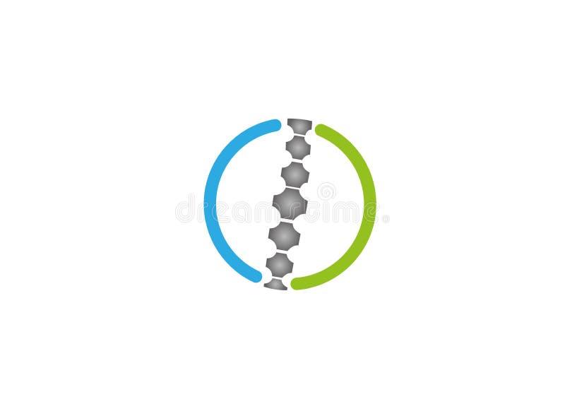 创造性的圈子脊椎商标 库存例证