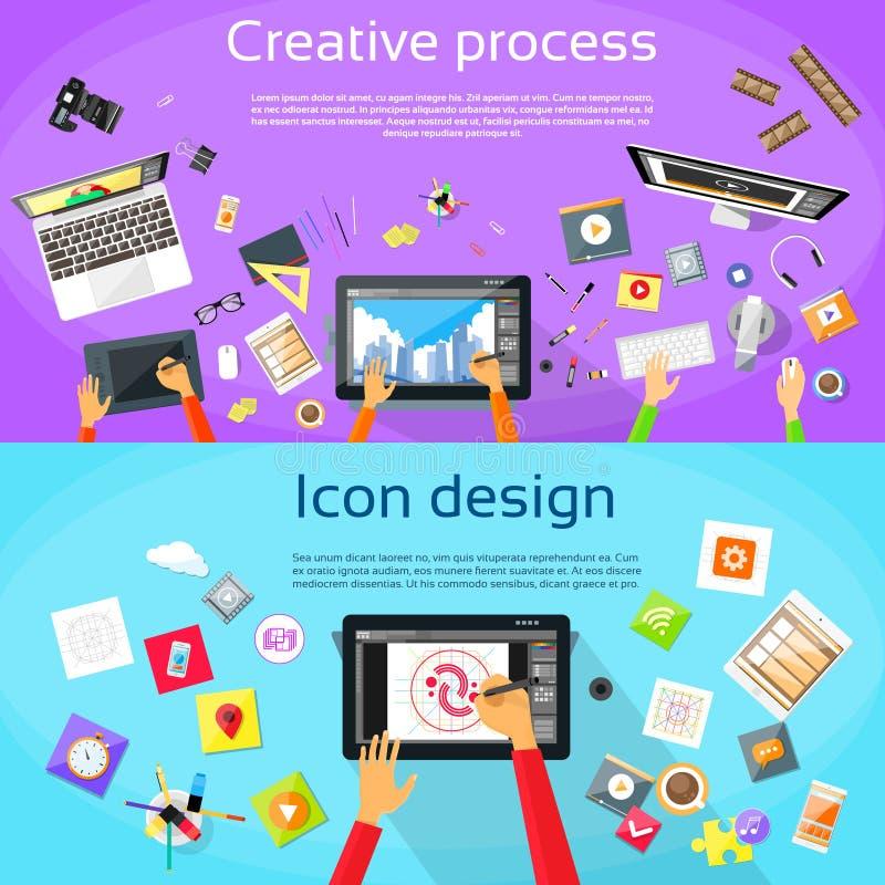 创造性的处理数字式商标象设计师 向量例证
