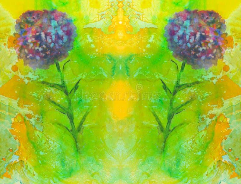 创造性的大理石对称纹理 充满活力的手画水彩背景 花卉葡萄酒覆盖物 装饰混乱colorf 向量例证