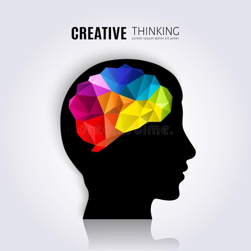 创造性的头脑 人脑的概念在黑顶头外形里面的 多角形样式 向量例证