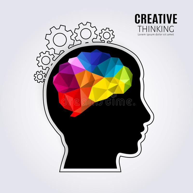 创造性的头脑 人脑的概念在黑顶头形成钝齿轮的外形和一条线里面的 多角形样式 向量例证