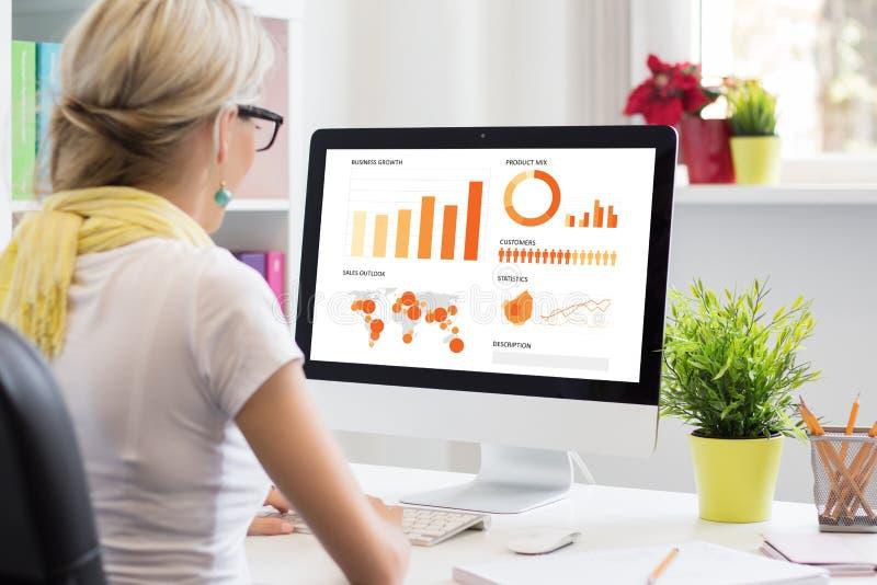 创造性的妇女与计算机一起使用在办公室 免版税库存照片