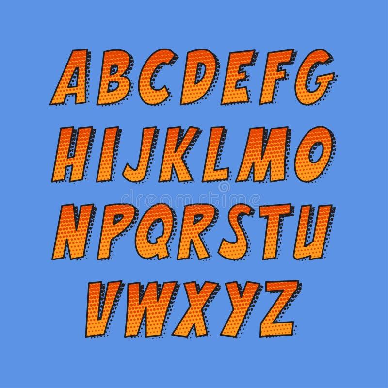 创造性的字体 传染媒介字母表汇集设置了仿照漫画和流行艺术样式 库存例证