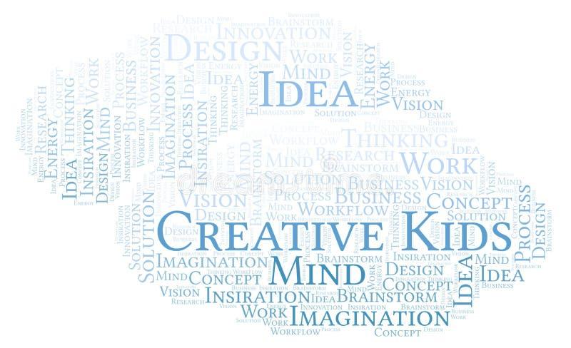 创造性的孩子措辞云彩,做用仅文本 向量例证