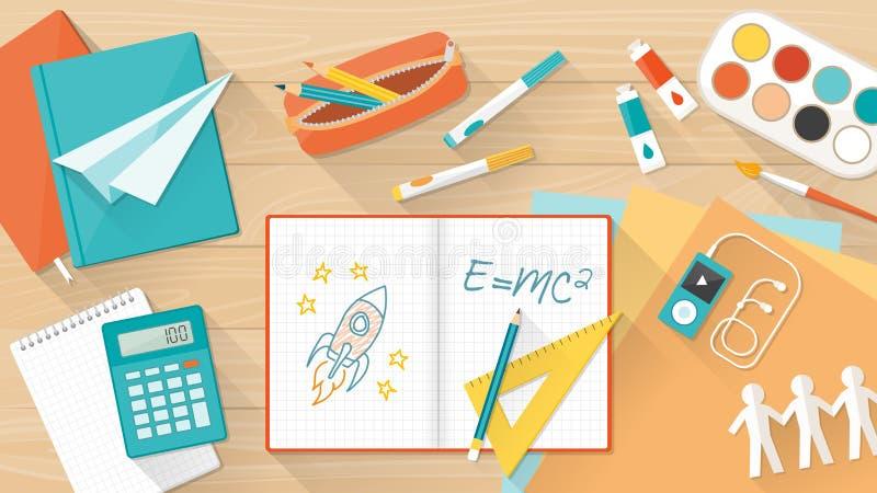 创造性的孩子桌面 库存例证