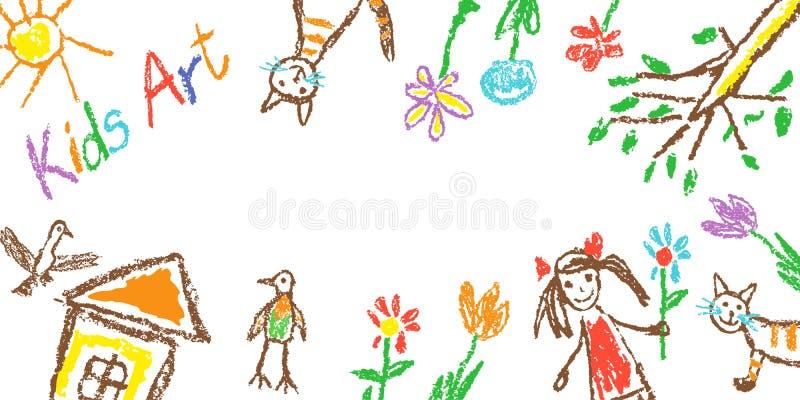 创造性的孩子艺术简单的边界、倒栽跳水横幅或者框架 象儿童的手拉的蜡笔多色乱画逗人喜爱的家,女孩,猫,flo 向量例证