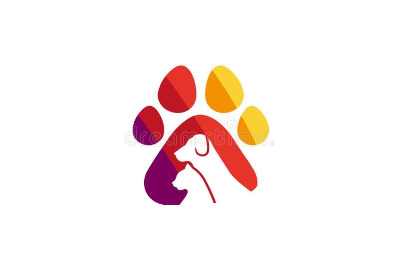创造性的宠物爪子商标设计传染媒介标志例证 向量例证