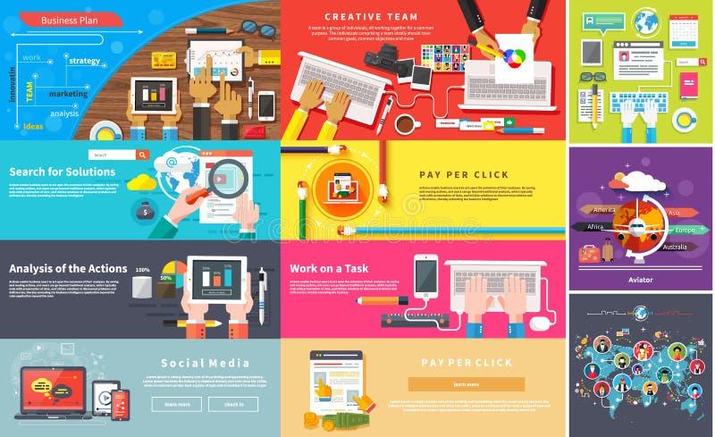 创造性的小组 工作在书桌的年轻设计小组 向量例证