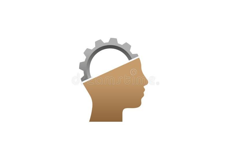 创造性的工程师工作者齿轮顶头脑子商标设计例证 向量例证