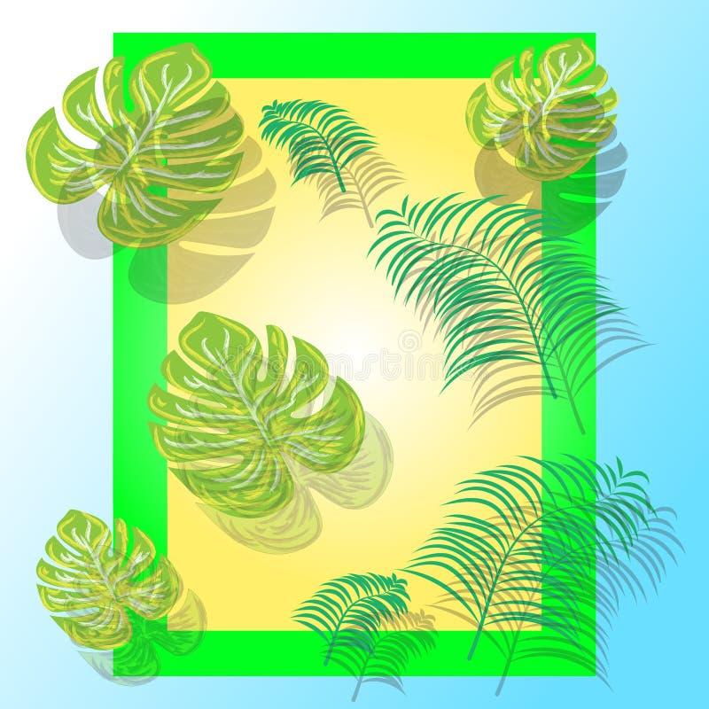 创造性的布局由五颜六色的热带叶子制成在五颜六色的背景 E ?? 库存例证