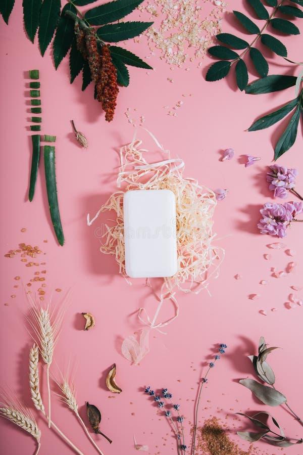 创造性的平的肥皂嘲笑位置顶视图在淡色千福年的桃红色纸背景拷贝空间 文本字法的模板 库存照片
