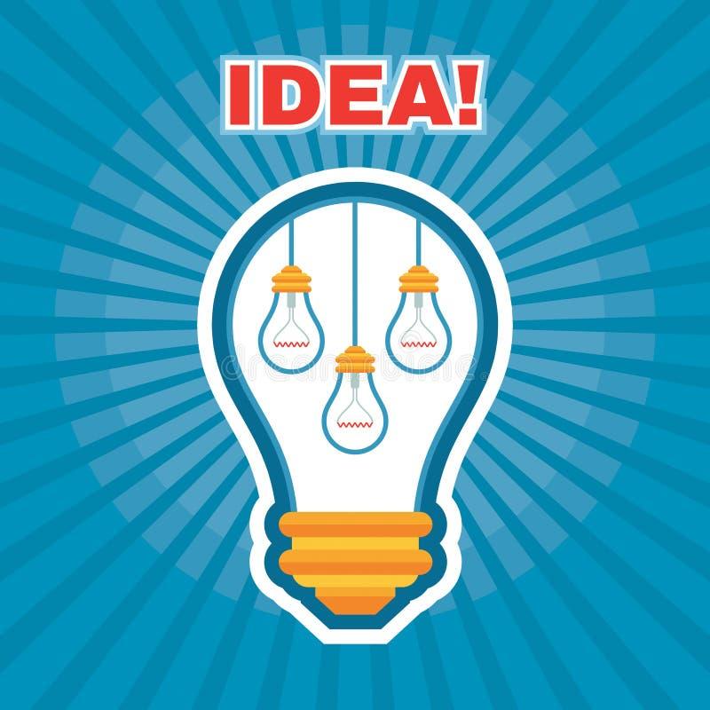 创造性的想法例证-向量图形概念-电灯泡-灯例证 皇族释放例证