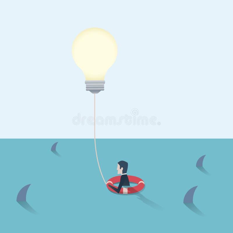 创造性的想法保存的商人 企业发现解答的传染媒介概念,克服障碍,挑战 皇族释放例证
