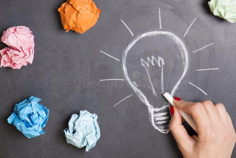 创造性的想法概念用画与白垩的妇女手电灯泡在黑板 免版税库存照片
