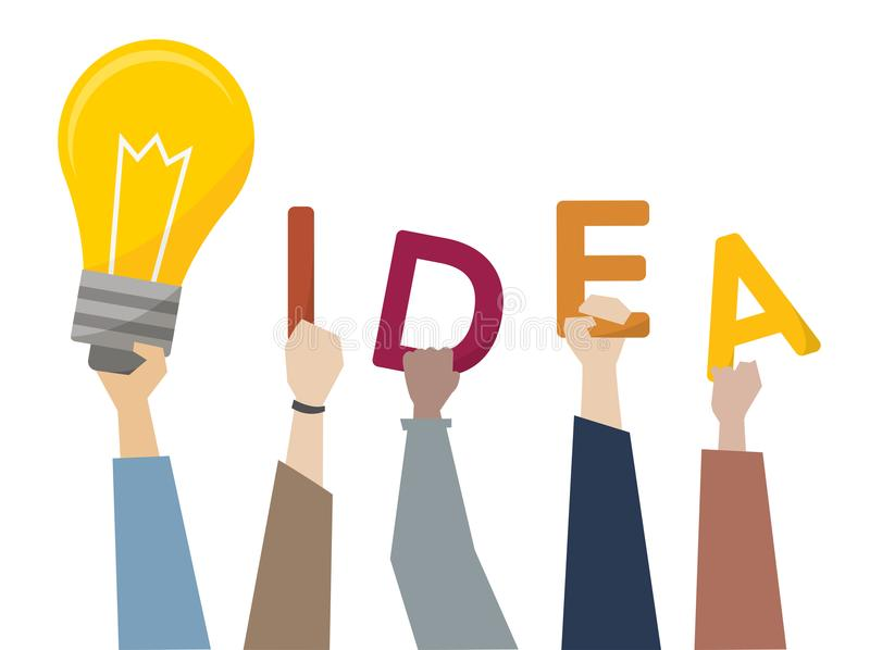 创造性的想法的例证与电灯泡的 向量例证